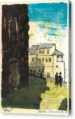 Canvas Print featuring the painting Arles Near Arena Provence by Martin Stankewitz