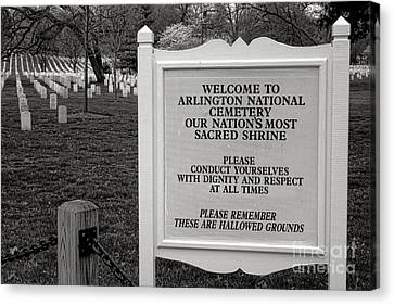 Arlington Cemetery Sign Canvas Print by Olivier Le Queinec