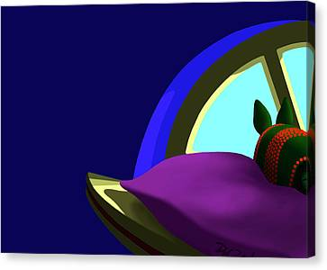 Armadillo On A Pillow Canvas Print by Tom Dickson