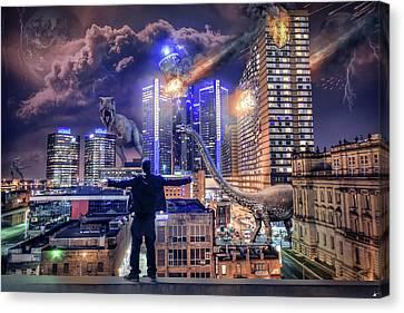 Canvas Print featuring the photograph Armageddon Detroit by Nicholas Grunas