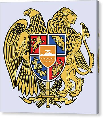 Canvas Print featuring the drawing Armenia Coat Of Arms by Movie Poster Prints