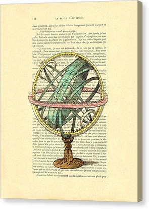 Armillary Sphere In Color Antique Illustration On Book Page Canvas Print