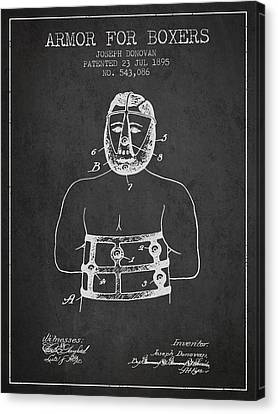 Armor For Boxers Patent From 1895 - Charcoal Canvas Print by Aged Pixel