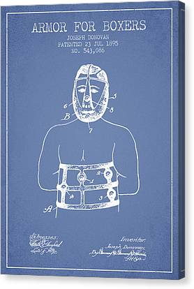 Armor For Boxers Patent From 1895 - Light Blue Canvas Print by Aged Pixel