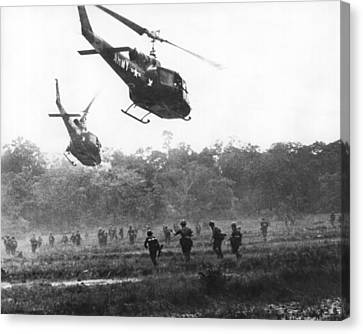 Field Of Crops Canvas Print - Army Airborne In Vietnam by Underwood Archives