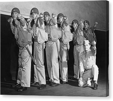 Young Man Canvas Print - Army Gernade Training by Underwood Archives