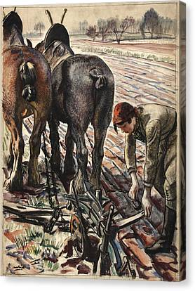 Plow Horse Canvas Print - Army Girl by Mountain Dreams