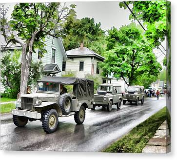 Army Jeeps On Parade Canvas Print