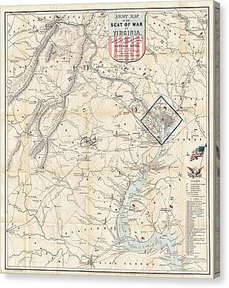 Army Map Of Seat Of War In Virginia 1862 Canvas Print by Stephen Stookey