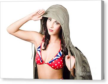 Army Pinup Saluting Retro Fashion In 1940 Style Canvas Print