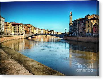 Arno River View In Pisa Canvas Print by George Oze