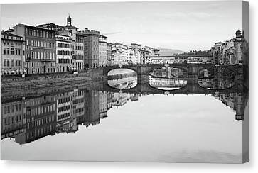 Canvas Print featuring the photograph Arno River Reflection, Florence, Italy by Richard Goodrich
