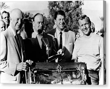 Arnold Palmer Right, Receives The Bob Canvas Print by Everett