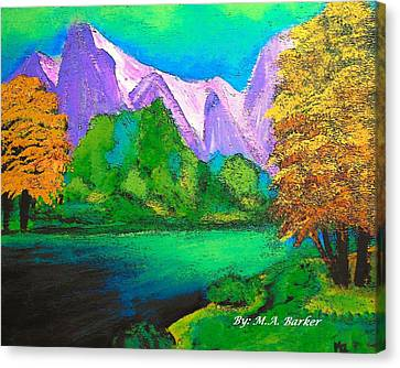Arora Borealis Mountain Image Canvas Print by Mary ann Barker