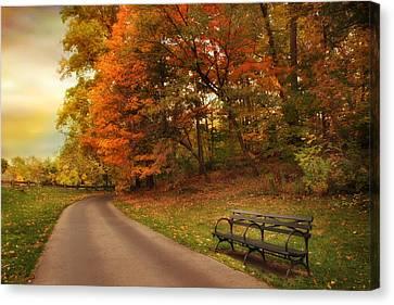 Autumn Landscape Canvas Print - Around The Bend by Jessica Jenney