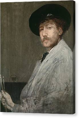 Arrangement In Grey  Portrait Of The Painter Canvas Print by James Abbott McNeill Whistler