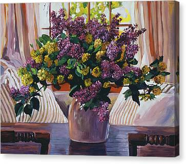 Ceramic Canvas Print - Arrangement In Lavender by David Lloyd Glover