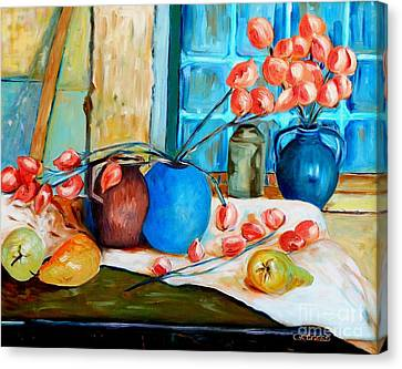 Arranging The Flowers Canvas Print by Caroline Street