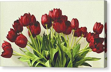 Array Of Red Tulips Canvas Print by Nadalyn Larsen