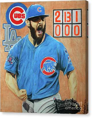 Canvas Print featuring the drawing Arrieta No Hitter - Vol. 1 by Melissa Goodrich