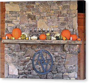 Arrington Vineyards Fireplace Mantle Canvas Print by Marian Bell