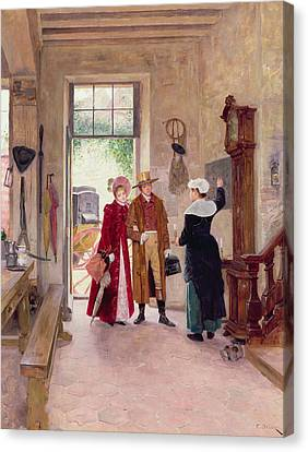Arrival At The Inn Canvas Print by Charles Edouard Delort