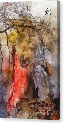 Canvas Print featuring the painting Arrival by Mo T