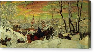 Snow Scene Canvas Print - Arriving For The Holidays by Boris Mihajlovic Kustodiev