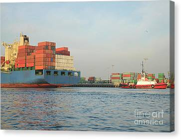 Arriving Ship Canvas Print by Timothy OLeary