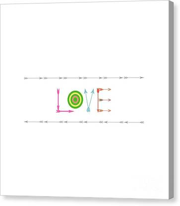 Arrow Love - Changeable Background Color Canvas Print