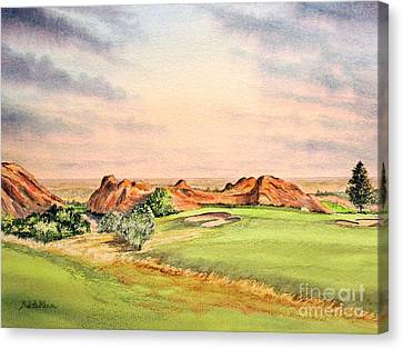 Canvas Print featuring the painting Arrowhead Golf Course Colorado Hole 3 by Bill Holkham