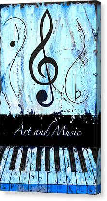 Art And Music Blue Canvas Print by Wayne Cantrell