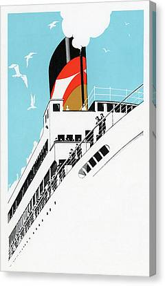 Art Deco 1920s Illustration Of A Cruise Ship With Passengers, 1928  Canvas Print