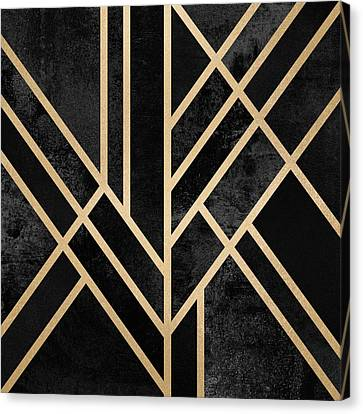 Art Deco Black Canvas Print by Elisabeth Fredriksson
