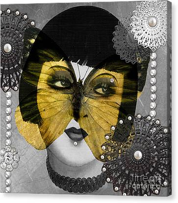 Art Deco Butterfly Woman Canvas Print by Mindy Sommers