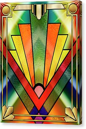 Canvas Print featuring the digital art Art Deco Chevron 2 V by Chuck Staley