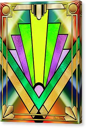 Canvas Print featuring the digital art Art Deco Chevron 3 V by Chuck Staley