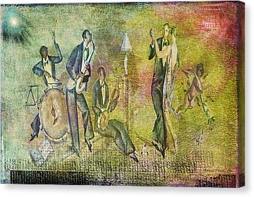 Canvas Print featuring the digital art Art Deco Dancing by Bellesouth Studio