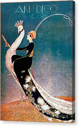 Art Deco Fashion Peacock Canvas Print by Mindy Sommers