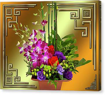 Canvas Print featuring the digital art Art Deco Floral Arrangement by Chuck Staley