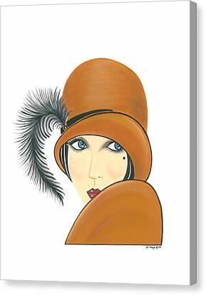 Art Deco Lady - Ginger Canvas Print by Di Kaye