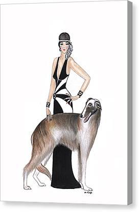 Art Deco Lady - Katarina And Tsar Canvas Print by Di Kaye