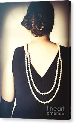 Art Deco Lady In Pearls Canvas Print by Amanda Elwell