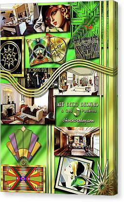 Canvas Print featuring the digital art Art Deco Mood Board by Chuck Staley