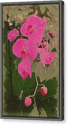 Art Deco Orchids Canvas Print by Mindy Newman
