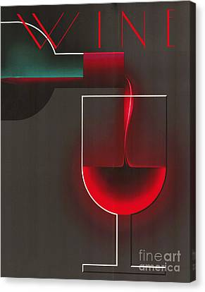 Art Deco Red Wine Canvas Print by Mindy Sommers