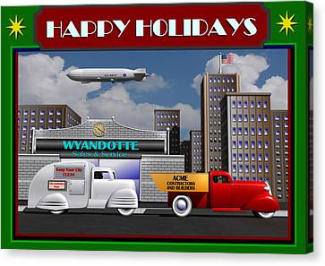 Canvas Print featuring the digital art Art Deco Street Scene Christmas Card by Stuart Swartz