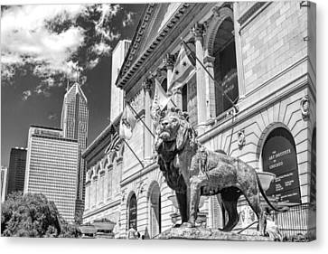 Art Institute In Chicago Black And White Canvas Print by Christopher Arndt