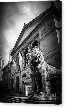 Bronze Canvas Print - Art Institute Of Chicago Lion Statue In Black And White by Paul Velgos