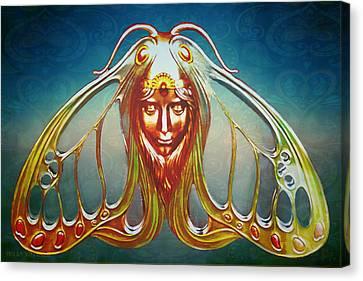 Art Nouveau Butterfly Woman Canvas Print